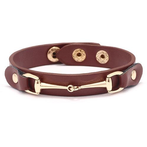 JB2608DBR Vegan Leather Snaffle Bit Bracelet, DBR