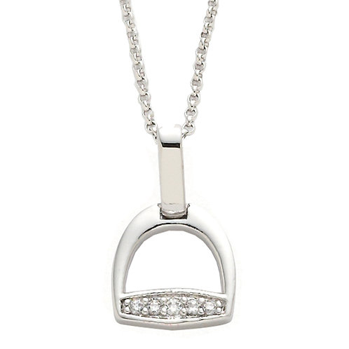 JN2035 Rhodium and CZ Stirrup Necklace