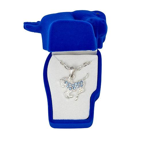 JN896BL Blue Precious Pony Necklace