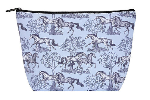 "GG613 ""Lila"" Blue Toile Cosmetic Case, Large"