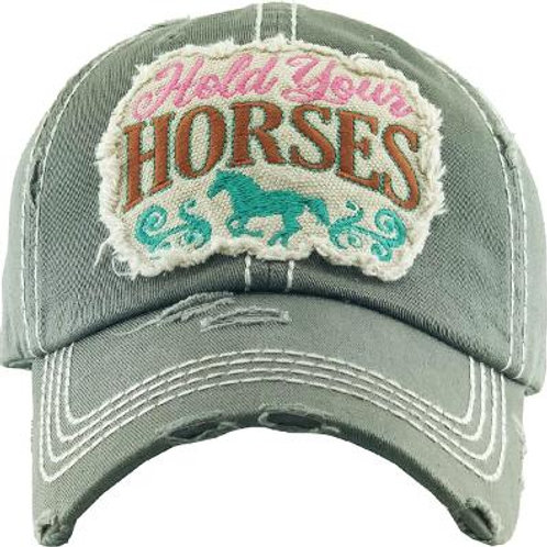 """AC268OL """"Hold Your Horses"""" Cap, Olive"""