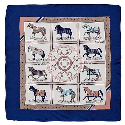 GG1506NV Silky Scarf, Horses in Blankets, Navy