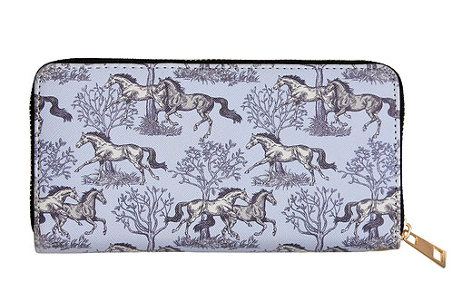 "LW449 ""Lila"" Blue Toile Horse Wallet"