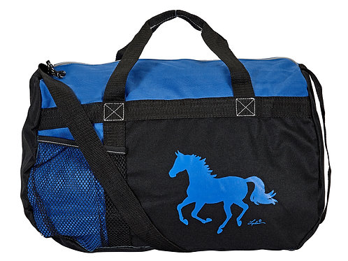 "GG819BL Blue & Black Duffle with ""Lila"" Horse"