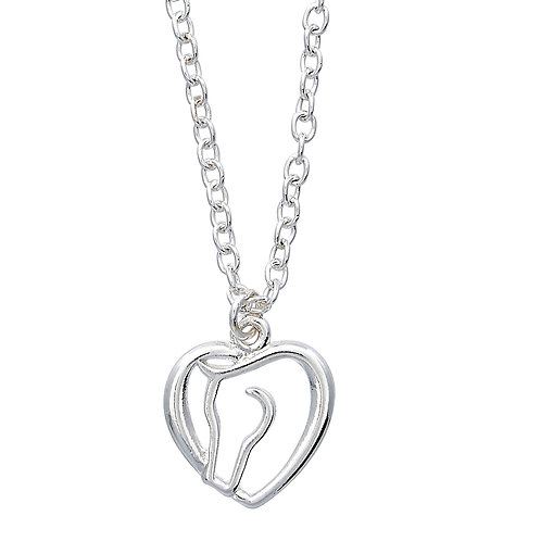 Horse Head & Heart Necklace