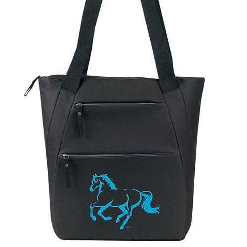 Lila©Black Galloping Horse Tote Bag