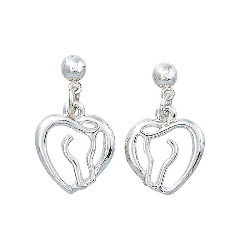 Horse Head & Heart Earrings