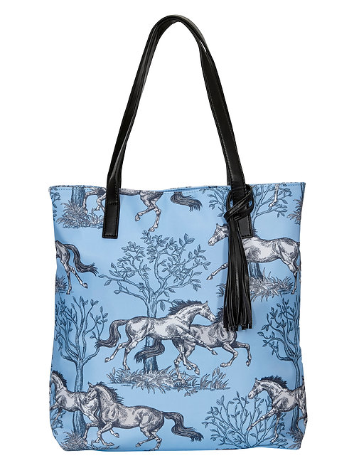 """Lila"" Blue Toile Tote Bag"