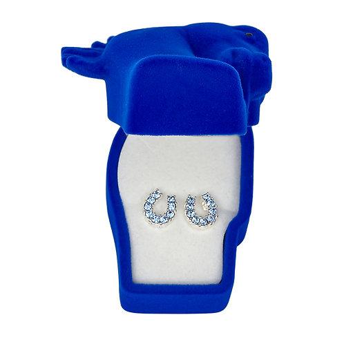 JE898BL Blue Horseshoe Earrings