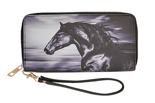 LW157 Black Horse Head Wallet