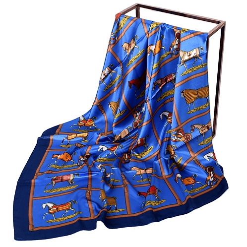 Silky Scarf,  Horses in Blankets, Blue