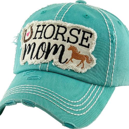 """AC263TQ """"Horse Mom"""" Cap, Turquoise"""