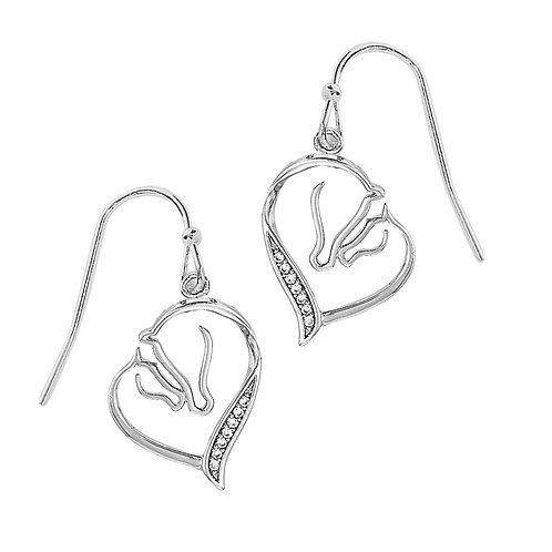 Crystal Mare & Foal Heart Earrings