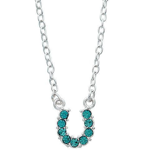JN898AQ Aqua Horseshoe Necklace