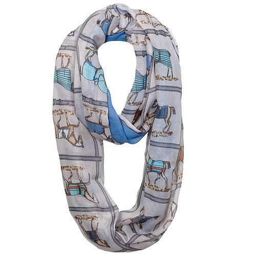 GG1051 Horses in Blankets Infinity Scarf