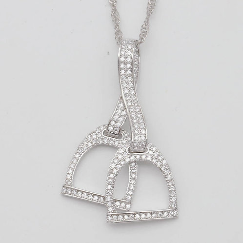 JN6810 Rhodium Double Stirrup Necklace