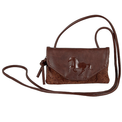 LP434 Tooled Leather Cross Body Purse