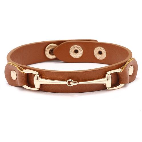 JB2608BR Vegan Leather Snaffle Bit Bracelet, Brown