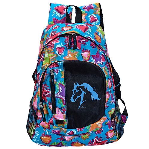 """GG655 Stars & Heart Backpack with """"Lila"""" Horse"""