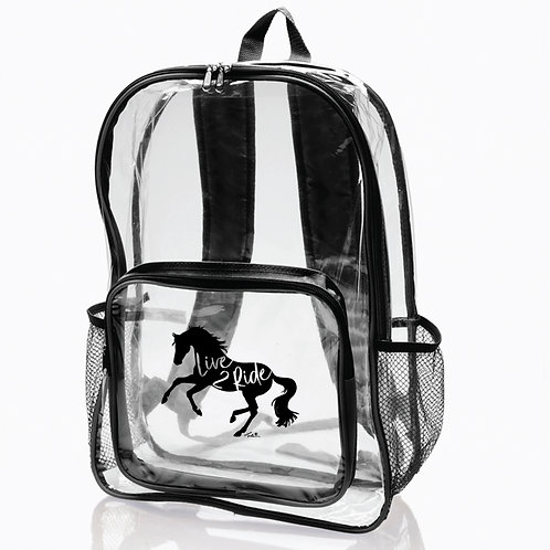 "Lila©""Live 2 Ride"" Clear Backpack"