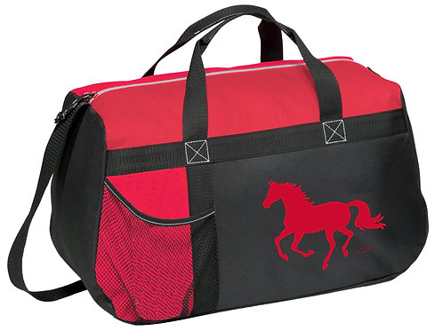"GG819RD Red & Black Duffle with ""Lila"" Horse"