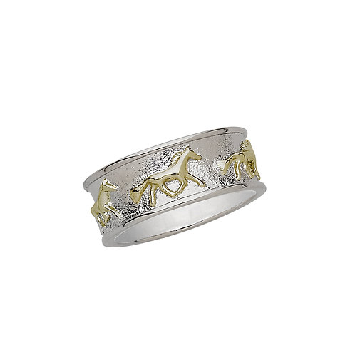 Sterling SIlver 2-Tone Running Horse Ring