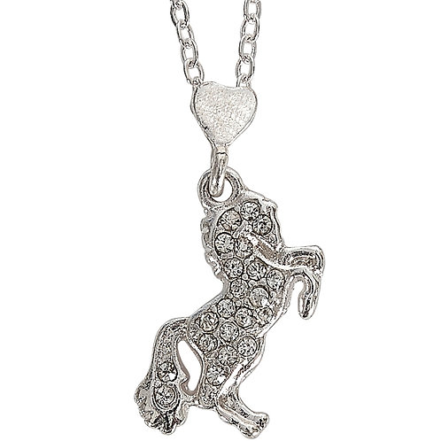 JN916 CZ Rearing Horse Necklace