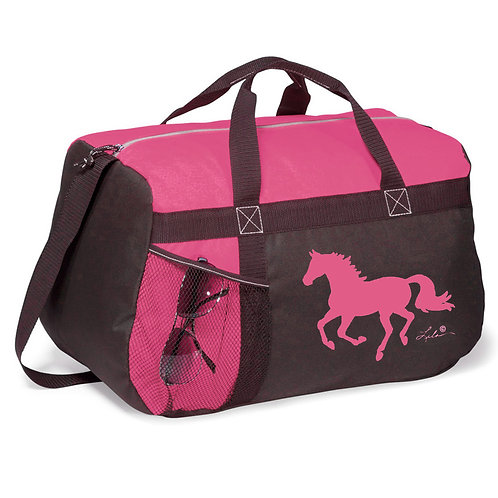"GG819PK Pink & Black Duffle with ""Lila"" Horse"