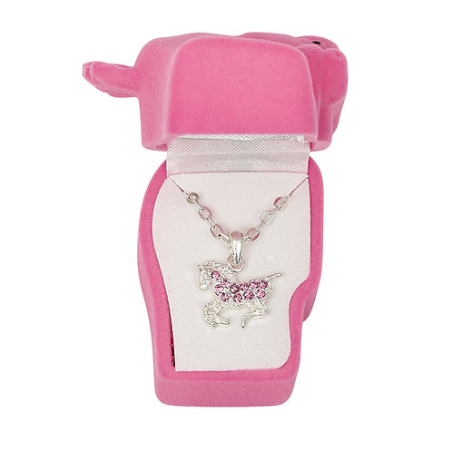 JN896PK Pink Precious Pony Necklace