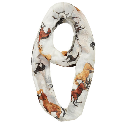 "GG1053 ""Lila"" Horse All Over Infinity Scarf"