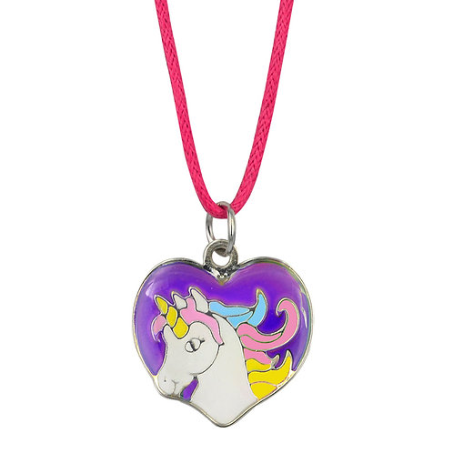 JN44CS Unicorn Heart Mood Necklace, CASE OF 24