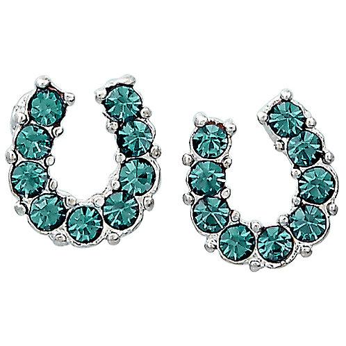 JE898AQ Aqua Horseshoe Earrings