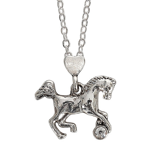 JN915 Playful Horse w/Clear Stone Necklace w/Horse Head Box
