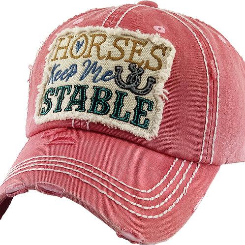"AC266PK ""Horses Keep Me Stable Cap, Pink"