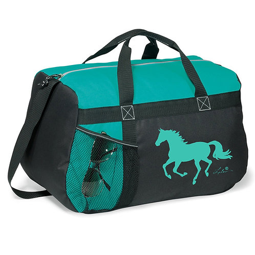 """GG819TQ Turquoise & Black Duffle with """"Lila"""" Horse"""
