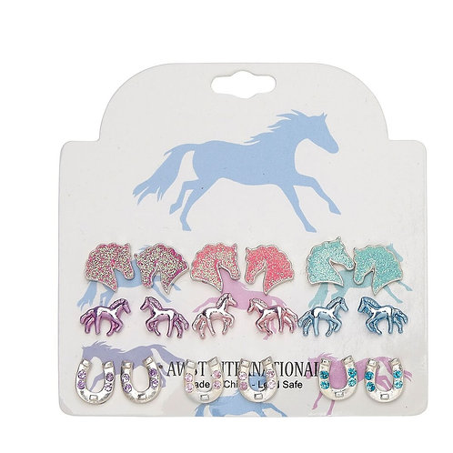 Set of 9 Assorted Horsey Earrings