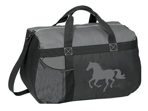 "GG819GR Grey & Black Duffle with ""Lila"" Horse"