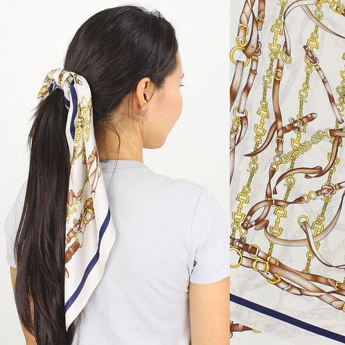 GG9910IV Silky Equestrian Scarf, Ivory