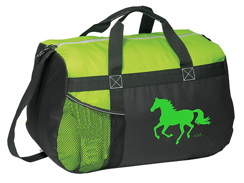 """GG819GN Green & Black Duffle with """"Lila"""" Horse"""