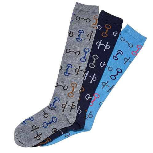 A818 Snaffle Bits, Ladies' Knee Socks, 3 pk
