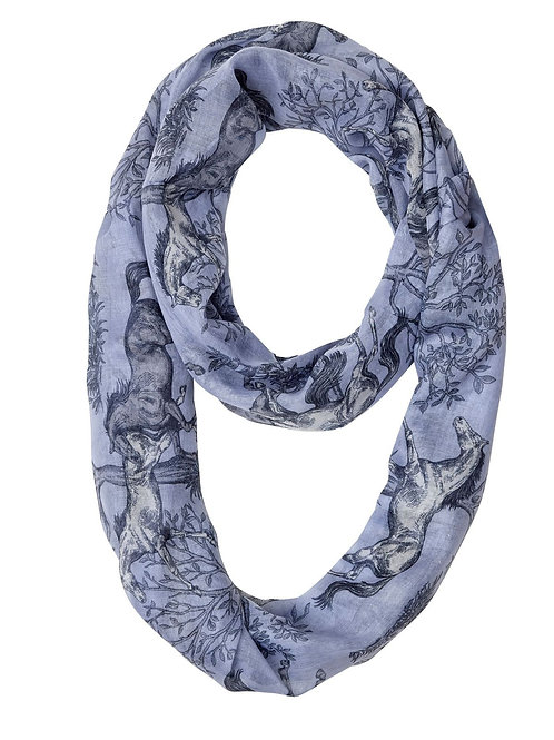 "GG1056 ""Lila"" Blue Toile Infinity Scarf"