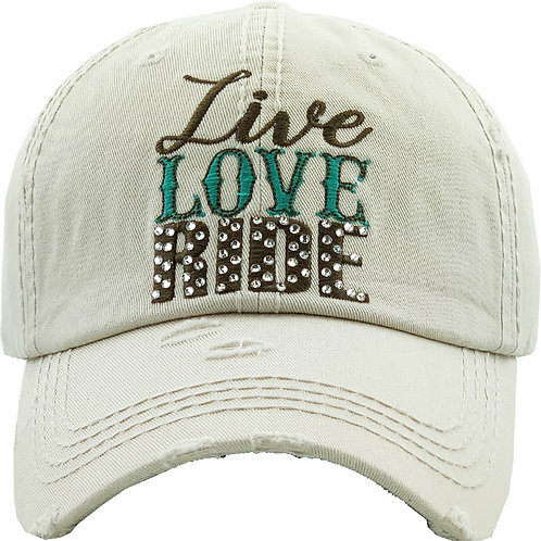 AC262IV Live, Love, Ride Cap, Ivory