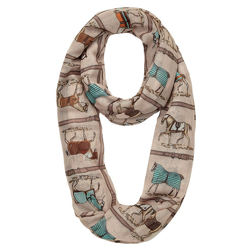 GG1052 Horses in Blankets Infinity Scarf