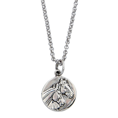 Sterling Silver Round Horse Head Pendant