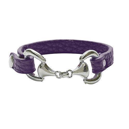 JB4900DPU Faux Leather Snaffle Bit Bracelet, Dark Purple