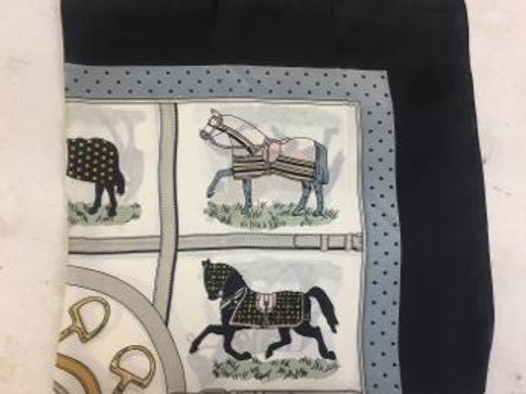 GG1506BK Silky Scarf, Horses in Blankets, Black