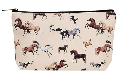 """GG609 """"Lila"""" Horses All Over Cosmetic Case, Small"""