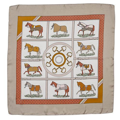 GG1506OR Silky Scarf, Horses in Blankets, Orange