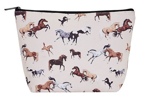 """GG618 """"Lila"""" Horses All Over, Cosmetic Case, Large"""