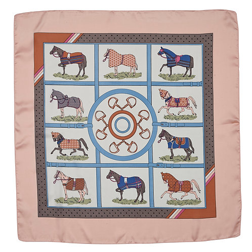 GG1506PK Silky Scarf, Horses in Blankets, Pink